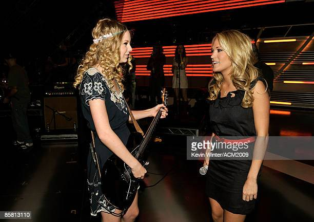 Musicians Taylor Swift and Carrie Underwood pose during the 44th annual Academy Of Country Music Awards rehearsals held at the MGM Grand on April 5...