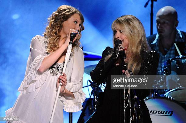 Musicians Taylor Swift and Stevie Nicks onstage at the 52nd Annual GRAMMY Awards held at Staples Center on January 31 2010 in Los Angeles California