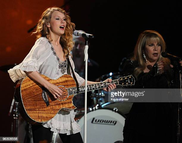 Musicians Taylor Swift and Stevie Nicks perform onstage during the 52nd Annual GRAMMY Awards held at Staples Center on January 31, 2010 in Los...