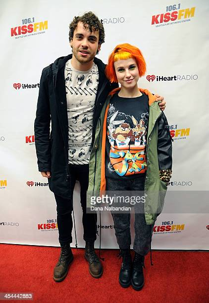 Musicians Taylor York and Hayley Williams of Paramore on the red carpet at KISS Jingle Ball at Comcast Arena at Everett on December 8 2013 in Everett...