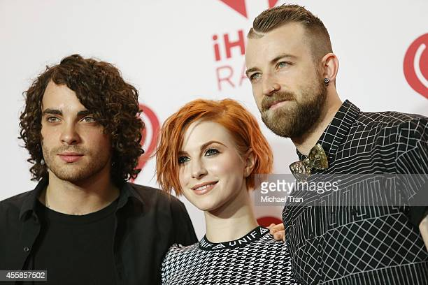 Musicians Taylor York Hayley Williams and Jeremy Davis of Paramore attend the iHeart Radio Music Festival night 2 press room held at MGM Grand Resort...