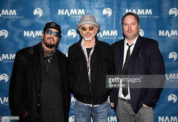 """Musicians Teddy Andreadis, Billy Bob Thornton and J.D. Andrew of """"The Boxmasters"""" attend the 2017 NAMM Show at the Anaheim Convention Center on..."""