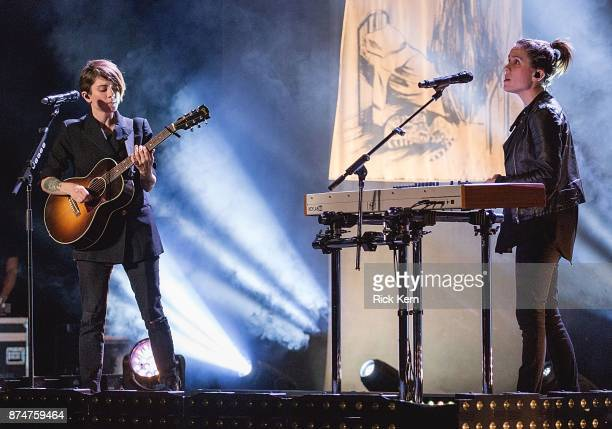 Musicians Tegan Quin and Sara Quin of Tegan and Sara perform in concert during 'The Con X Tour' at Paramount Theatre on November 15 2017 in Austin...