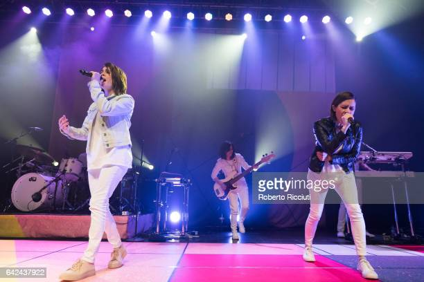 Musicians Tegan Quin and Sara Quin of Tegan and Sara perform on stage at O2 ABC Glasgow on February 17 2017 in Glasgow Scotland