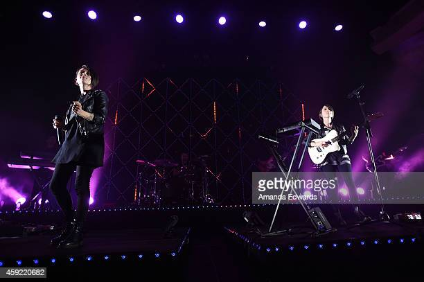 Musicians Tegan Quin and Sara Quin of Tegan and Sara perform onstage at the Hollywood Palladium on November 18 2014 in Hollywood California