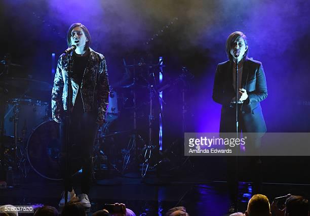 Musicians Tegan Quin and Sara Quin of Tegan and Sara perform onstage at the Teragram Ballroom on May 3 2016 in Los Angeles California
