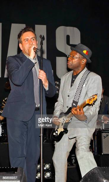 Musicians Terry Hall and Lynval Golding of The Specials performs on stage at Brixton Academy on May 8 2009 in London England