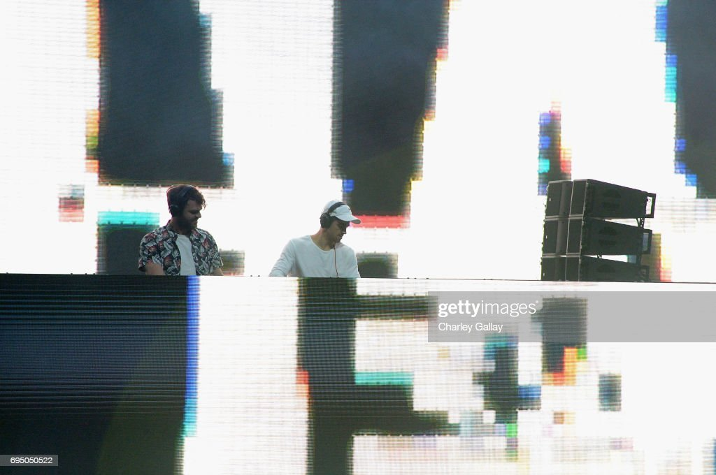 Musicians The Chainsmokers perform during Bethesda Softworks shows off new video game experiences at its E3 Showcase and Bethesdaland event at the Los Angeles Center Studios ahead of the Electronic Entertainment Expo (E3) happening at the Los Angeles Convention Center from June 13-15, 2017, on June 11, 2017 in Los Angeles, California.