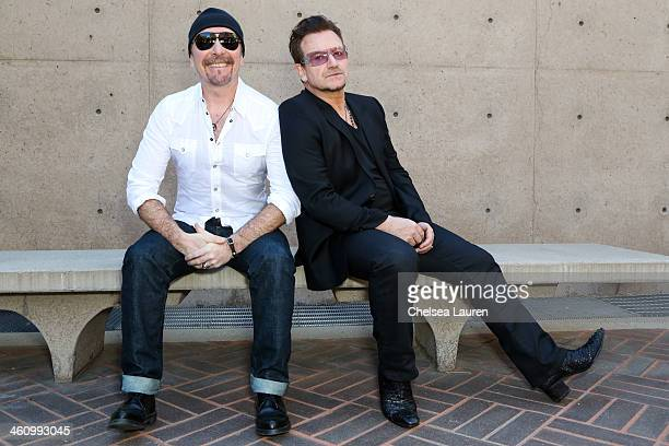 Musicians The Edge and Bono attend the 25th annual Palm Springs Film Festival Talking Pictures on January 5 2014 in Palm Springs California