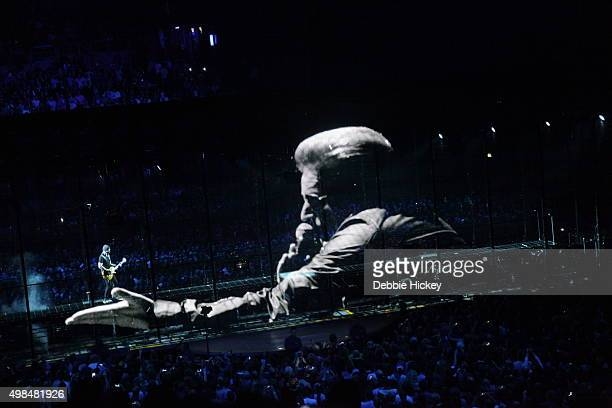 Musicians The Edge and Bono of U2 perform on stage at 3 Arena on November 23 2015 in Dublin Ireland
