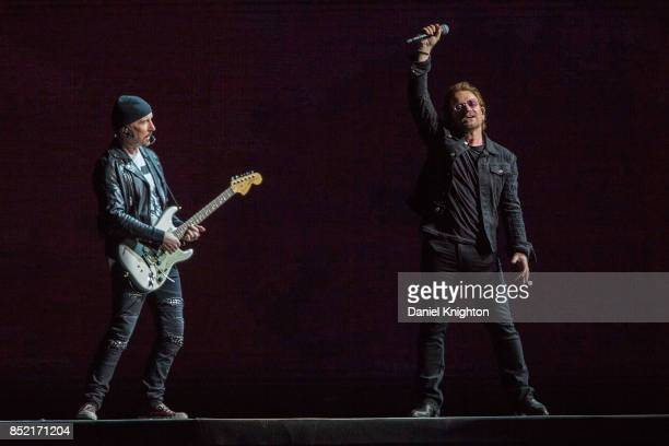 Musicians The Edge and Bono of U2 perform on stage on the final night of U2 The Joshua Tree Tour 2017 at SDCCU Stadium on September 22 2017 in San...