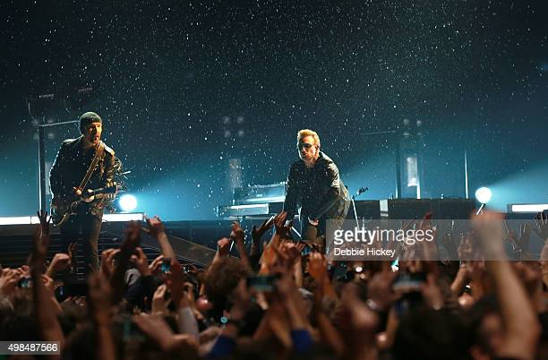 Musicians The Edge and Bono of U2 perform onstage at 3 Arena on November 23 2015 in Dublin Ireland