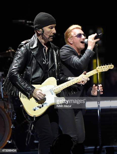 Musicians The Edge and Bono of U2 perform onstage during the U2 iNNOCENCE eXPERIENCE tour opener in Vancouver at Rogers Arena on May 14 2015 in...