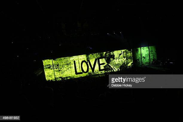 Musicians The Edge Larry Mullen Jr Bono and Adam Clayton of U2 perform onstage during of U2 performs at 3 Arena on November 23 2015 in Dublin Ireland