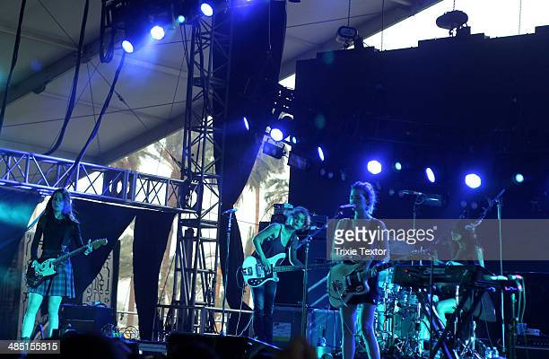 Musicians Theresa Wayman Jenny Lee Lindberg and Emily Kokal and Stella Mozgawa of the band Warpaint perform onstage during day 3 of the 2014...