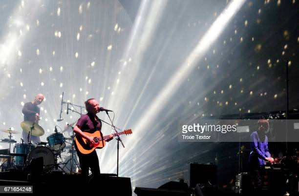 Musicians Thom Yorke Jonny Greenwood and drummer Clive Deamer of Radiohead perform on the Coachella Stage during day 1 of the Coachella Valley Music...
