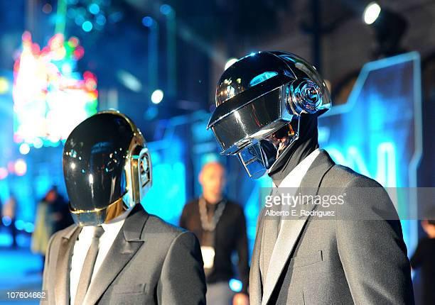 Musicians Thomas Bangalter and GuyManuel de HomemChristo of Daft Punk arrive at Walt Disney's TRON Legacy World Premiere held at the El Capitan...