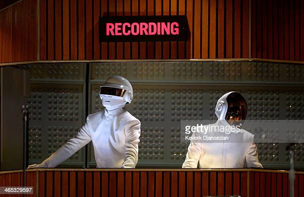 Musicians Thomas Bangalter and GuyManuel de HomemChristo of Daft Punk perform onstage during the 56th GRAMMY Awards at Staples Center on January 26...