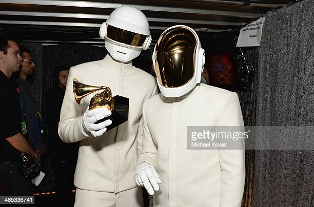 Musicians Thomas Bangalter and GuyManuel de HomemChristo of Daft Punk attend the 56th GRAMMY Awards at Staples Center on January 26 2014 in Los...