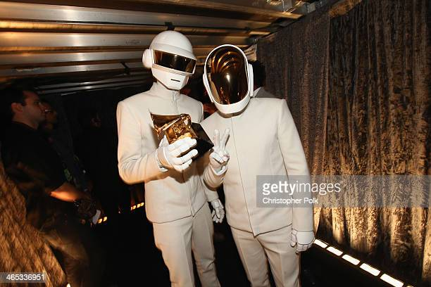 Musicians Thomas Bangalter and GuyManuel de HomemChristo winners of Album of the Year and Best Pop Duo/Group Performance attends the 56th GRAMMY...