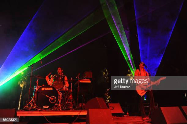 Musicians Thomas Ross Turner and Aaron Kyle Behrens from the band Ghostland Observatory perform during day 1 of the Coachella Valley Music Arts...