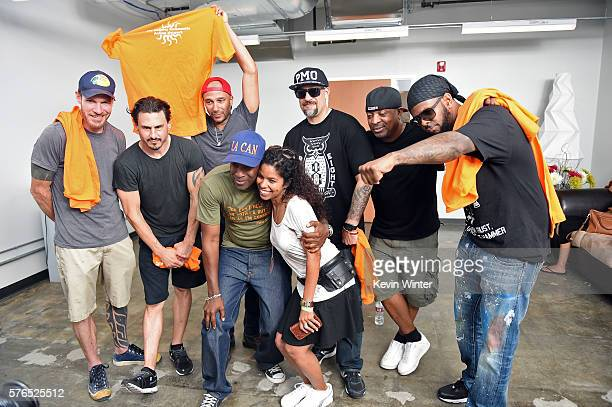 Musicians Tim Commerford Brad Wilk Tom Morello BReal Chuck D and DJ Lord of Prophets of Rage with LA CAN executive director Pete White and Gaye...