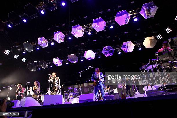 Musicians Tim Kingsbury Regine Chassagne Win Butler Richard Reed Parry and William Butler of Arcade Fire perform onstage during day 3 of the 2014...