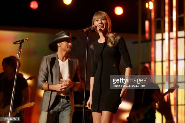 Musicians Tim McGraw and Taylor Swift perform onstage during Tim McGraw's Superstar Summer Night presented by the Academy of Country Music at the MGM...