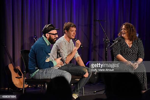 Musicians Tim Nordwind and Damian Kulash speak with moderator Melinda Newman at The Drop OK Go at The GRAMMY Museum on October 29 2014 in Los Angeles...