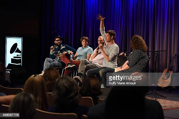Musicians Tim Nordwind Andy Ross Dan Konopka and Damian Kulash speak with moderator Melinda Newman at The Drop OK Go at The GRAMMY Museum on October...