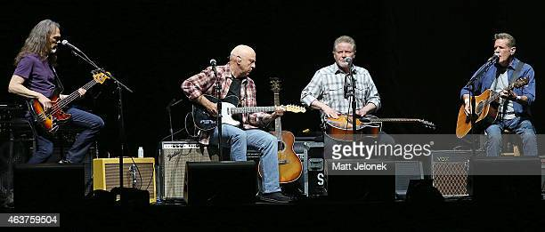 Musicians Timothy B. Schmit, Bernie Leadon, Don Henley and Glenn Frey of The Eagles perform at Perth Arena on February 18, 2015 in Perth, Australia.