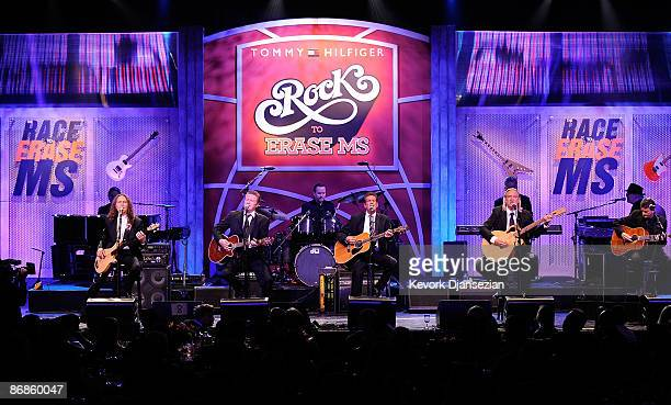 Musicians Timothy B Schmit Don Henley Glenn Frey and Joe Walsh of The Eagles perform onstage during the 16th Annual Race to Erase MS event themed...
