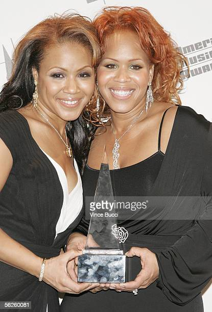 Musicians Tina Campbell and Erica Campbell of Mary Mary pose with their award for Contemporary Inspirational Artist in the press room at the 2005...