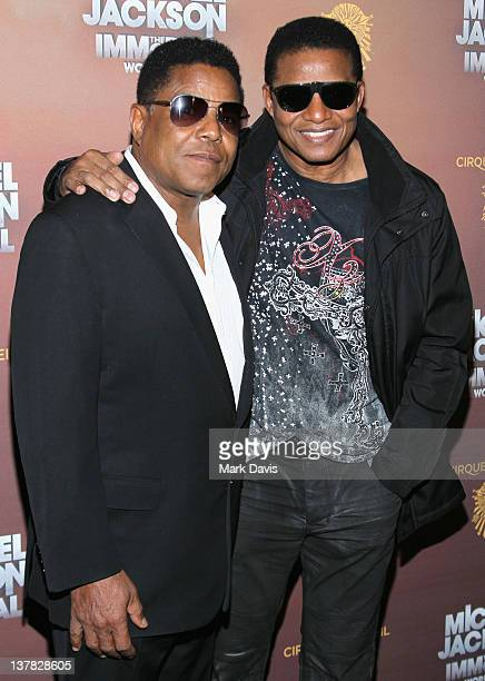 Musicians Tito Jackson and Jackie Jackson attend the Los Angeles premiere of Michael Jackson 'THE IMMORTAL' World Tour at Staples Center on January...