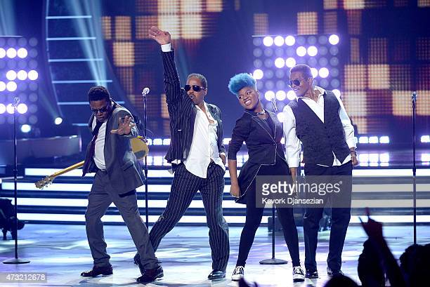 Musicians Tito Jackson, Jackie Jackson and Marlon Jackson of The Jackson Five perform onstage with American Idol finalist Tyanna Jones during...