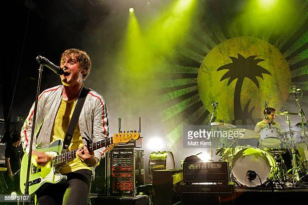 Musicians Tom Chaplin and Richard Hughes of Keane perform on stage to celebrate 50 years of Island Records at Shepherds Bush Empire on May 30 2009 in...