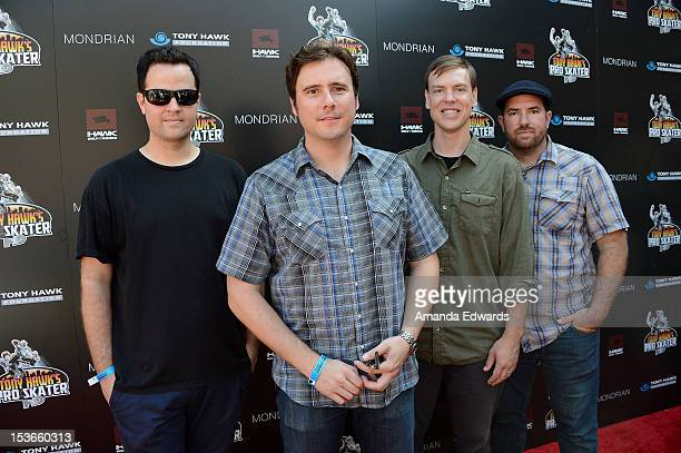 Musicians Tom Linton Jim Adkins Rick Burch and Zach Lind of the band Jimmy Eat World arrive at the 9th Annual Stand Up For Skateparks Benefiting The...