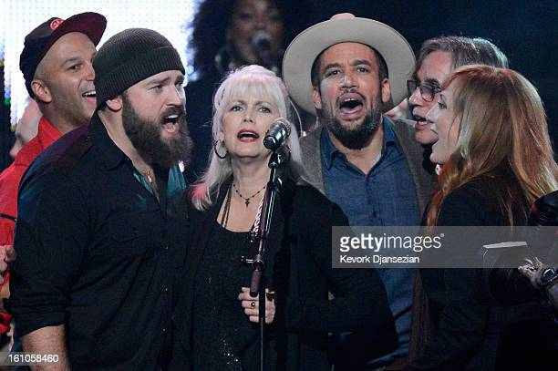 Musicians Tom Morello Zac Brown Emmylou Harris Ben Harper Jackson Browne and Patti Scialfa perform onstage at The 2013 MusiCares Person Of The Year...