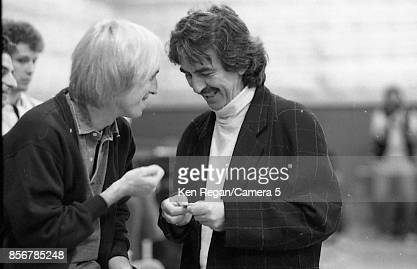 Musicians Tom Petty and George Harrison are photographed behind the scenes at the Bob Dylan 30th Anniversary Tribute Concert on October 16 1992 at...