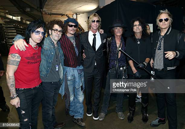 Musicians Tommy Henriksen Bruce Witkin Johnny Depp Duff McKagan Joe Perry Alice Cooper and Matt Sorum of the Hollywood Vampires are seen backstage at...