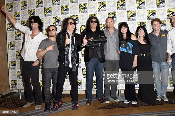 Musicians Tommy Thayer Eric Singer Paul Stanley Gene Simmons of Kiss actors Matthew Lillard Pauley Perrette Grey Griffin writer/producer Kevin...