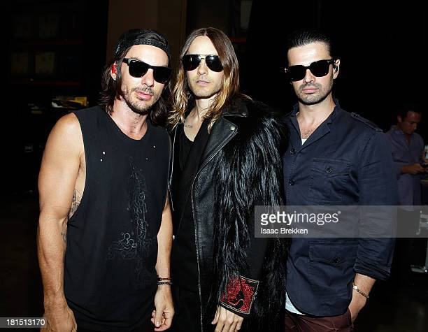 Musicians Tomo Milicevic Jared Leto and Shannon Leto of Thirty Seconds to Mars attend the iHeartRadio Music Festival at the MGM Grand Garden Arena on...