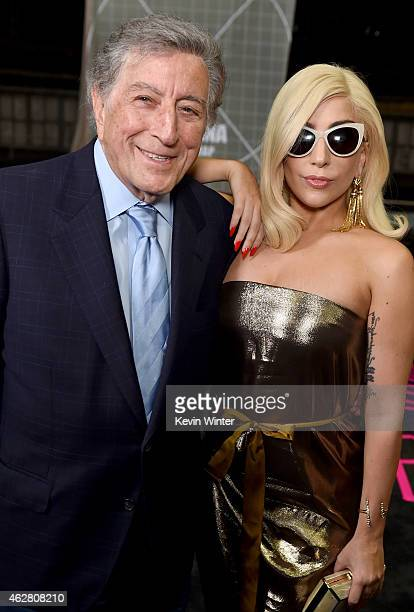 Musicians Tony Bennett and Lady Gaga pose backstage during The 57th Annual GRAMMY Awards at the Staples Center on February 5 2015 in Los Angeles...