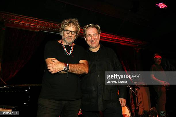 Musicians Tony Esposito and Mark Kostabi attend The Cutting Room on October 20 in New York City