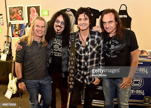 Musicians Tony Franklin Frankie Banali Phil Soussan and Vinny Appice pose at the Rock 'N' Roll Fantasy Camp at AMP Rehearsal Studios on November 6...