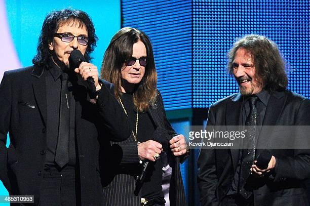 Musicians Tony Iommi Ozzy Osbourne and Geezer Butler of Black Sabbath speak onstage during the 56th GRAMMY Awards at Staples Center on January 26...