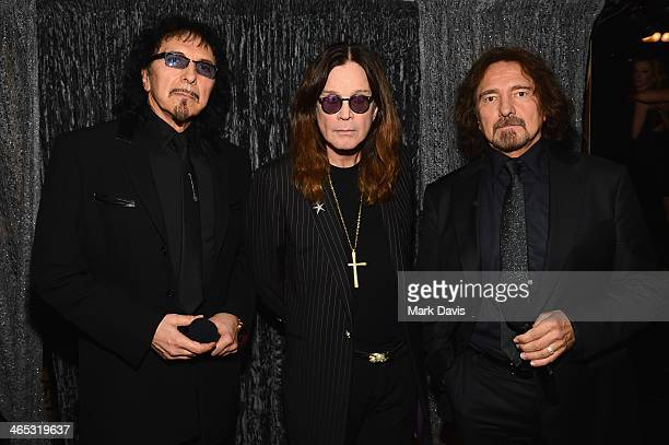Musicians Tony Iommi Ozzy Osbourne and Geezer Butler of Black Sabbath attend the 56th GRAMMY Awards at Staples Center on January 26 2014 in Los...