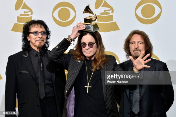 Musicians Tony Iommi Ozzy Osbourne and Geezer Butler of Black Sabbath winners of Best Metal Performance for 'God Is Dead' pose in the press room...
