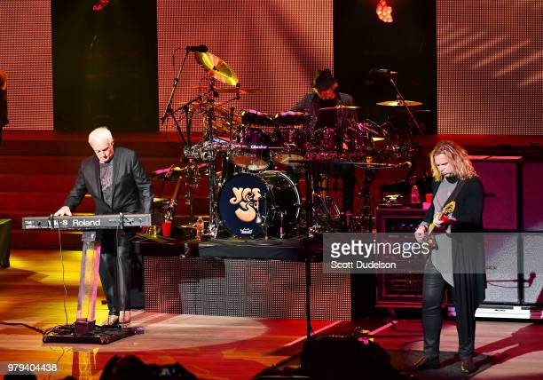 Musicians Tony Kaye Alan White and Billy Sherwood of the classic rock band Yes perform onstage during the band's 50th Anniversary tour at Ford...