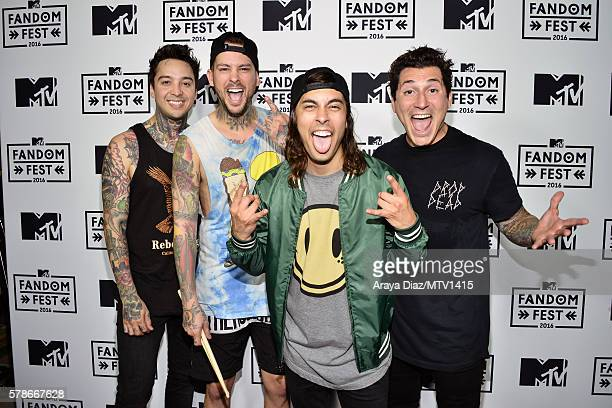 Musicians Tony Perry Mike Fuentes Vic Fuentes and Jaime Preciado of the band Pierce the Veil attend the MTV Fandom Awards San Diego at PETCO Park on...